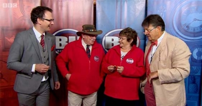 Charles Hanson with the BBC Bargain Hunt contestants and Tim Wonnacott