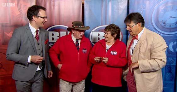 Charles Hanson with the BBC Bargain Hunt contestants and Tim Wonnacott